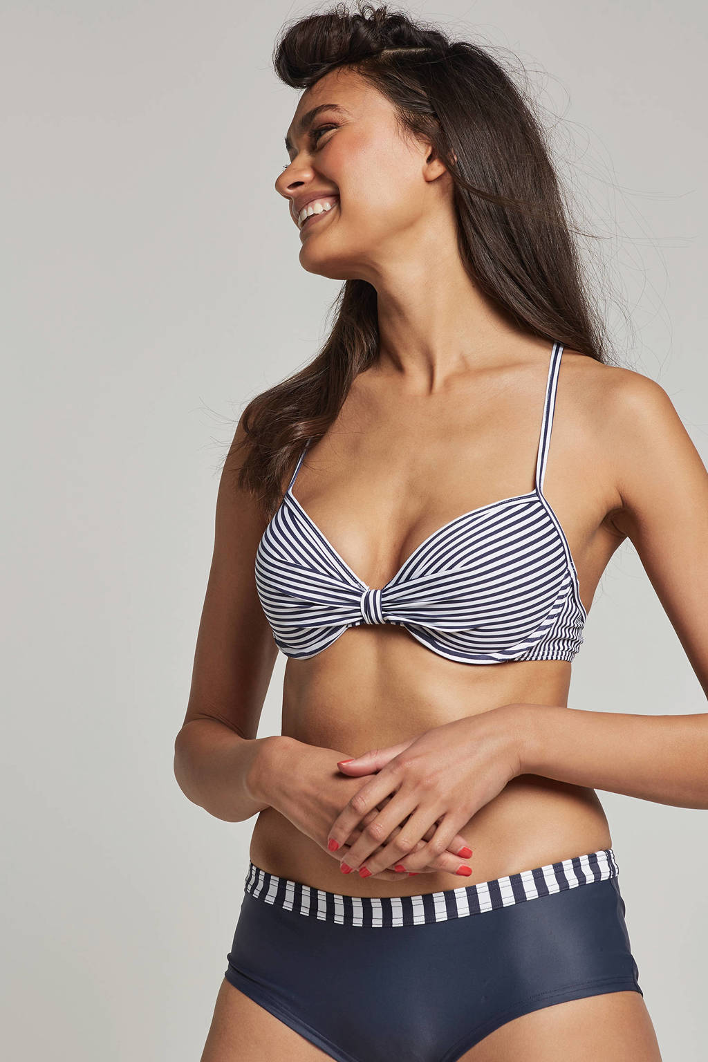 ESPRIT Women Beach gestreepte push up bikinitop met beugel marine, Marine/wit