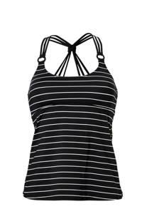 ESPRIT Women Beach gestreepte tankini bikinitop zwart, Zwart/wit