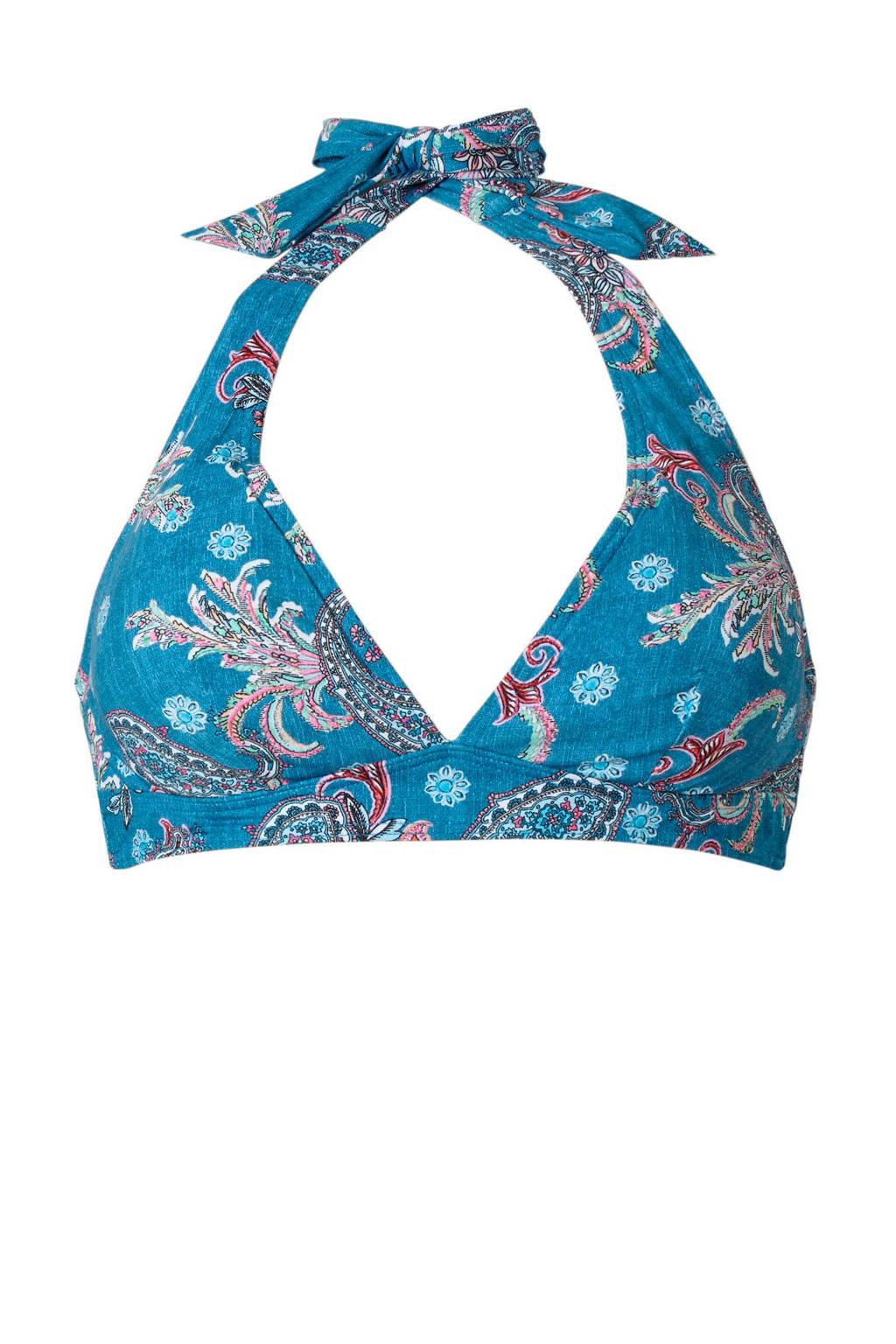 ESPRIT Women Beach halterbikinitop met all over print blauw, Blauw/wit/roze