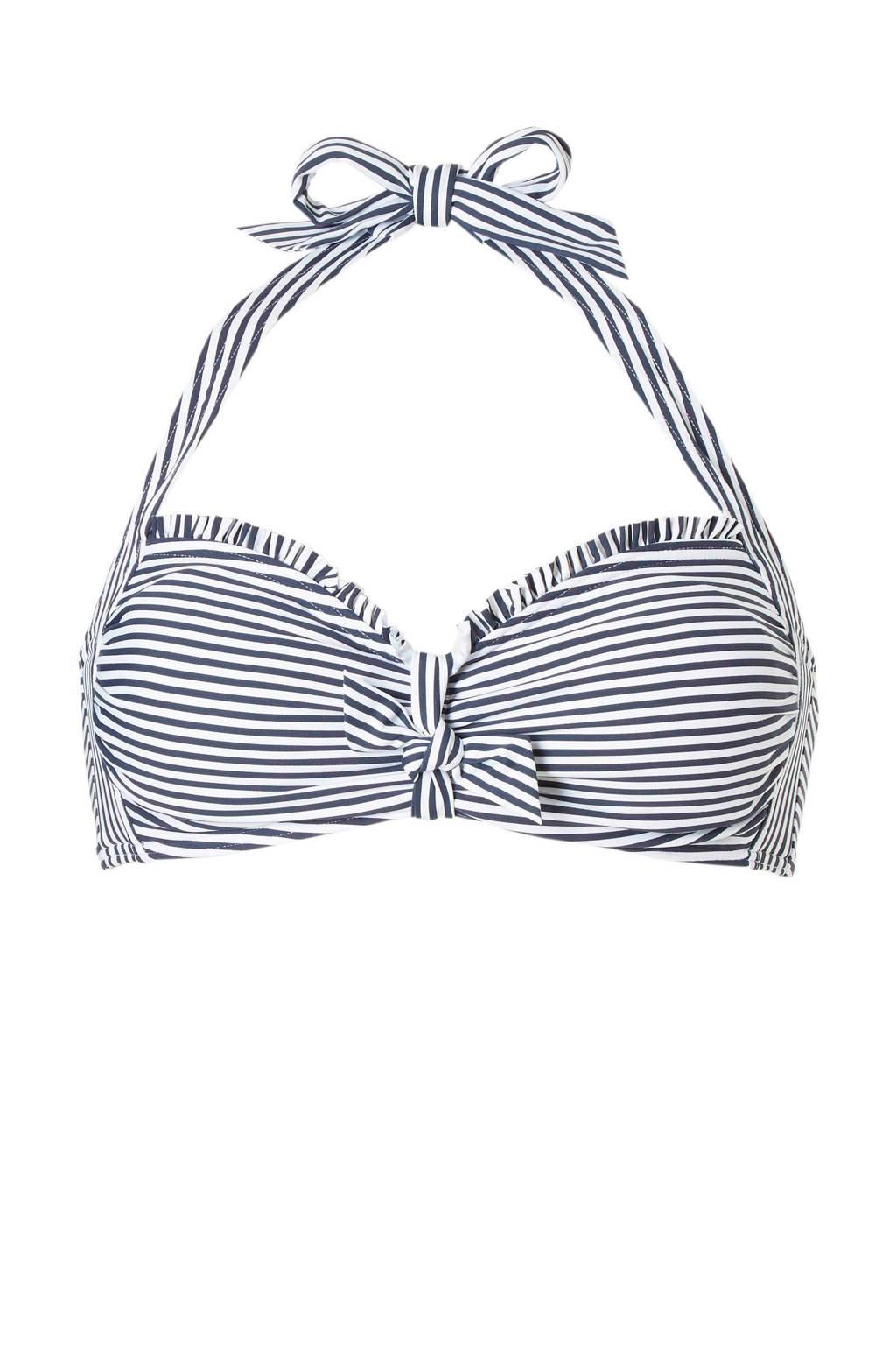 ESPRIT Women Beach gestreepte halter bikinitop marine, Marine/wit