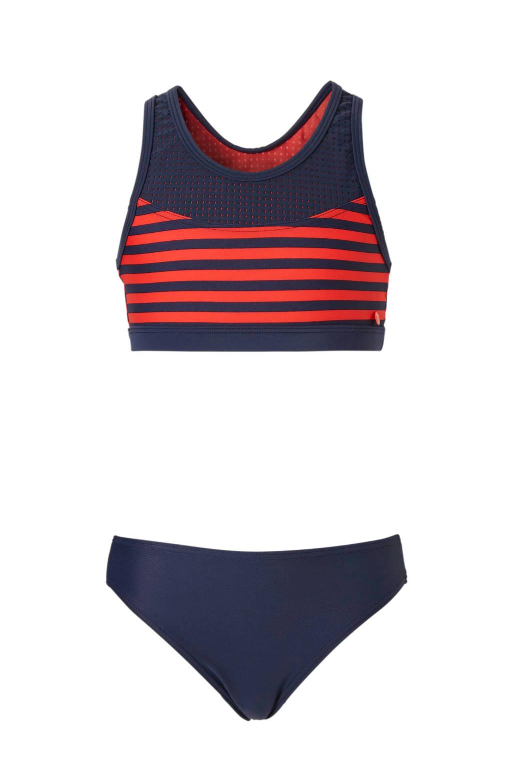 ESPRIT Kids Beach bikini met siergaatjes marine, Marine/rood