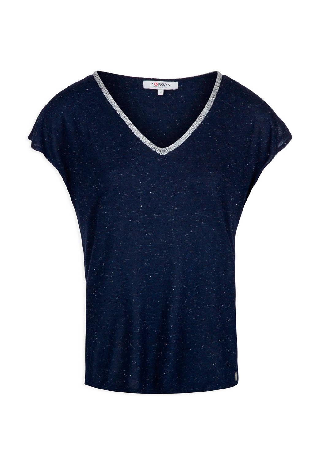 Morgan T-shirt met glitters marine, Marine