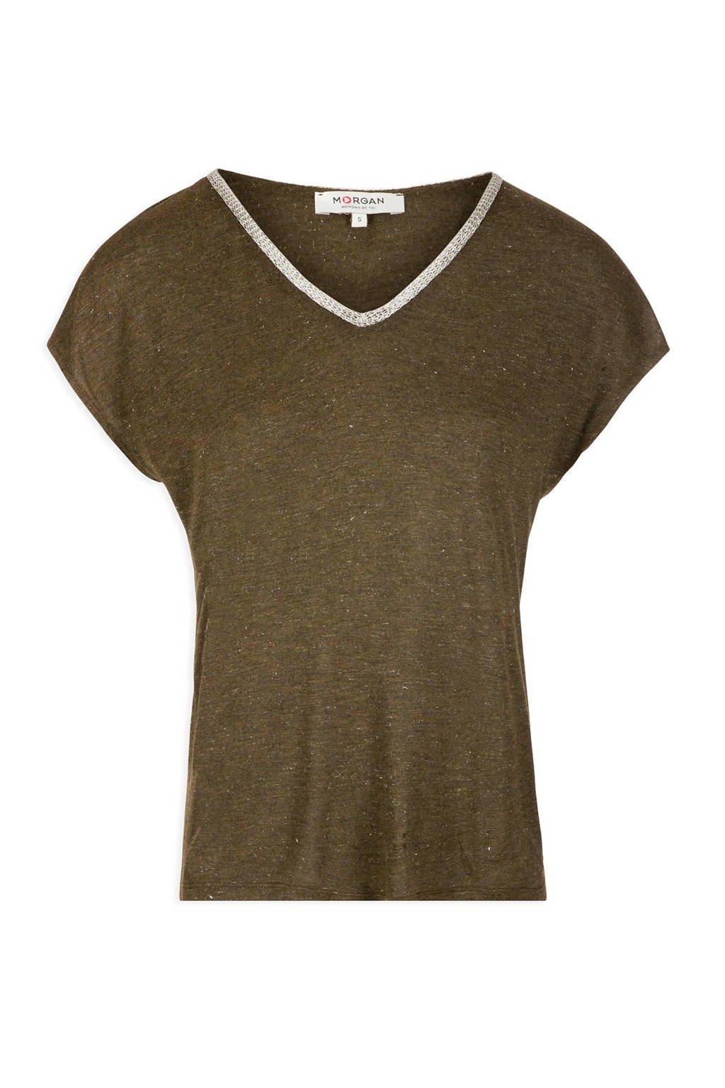 Morgan T-shirt met glitters olijfgroen, Olijfgroen