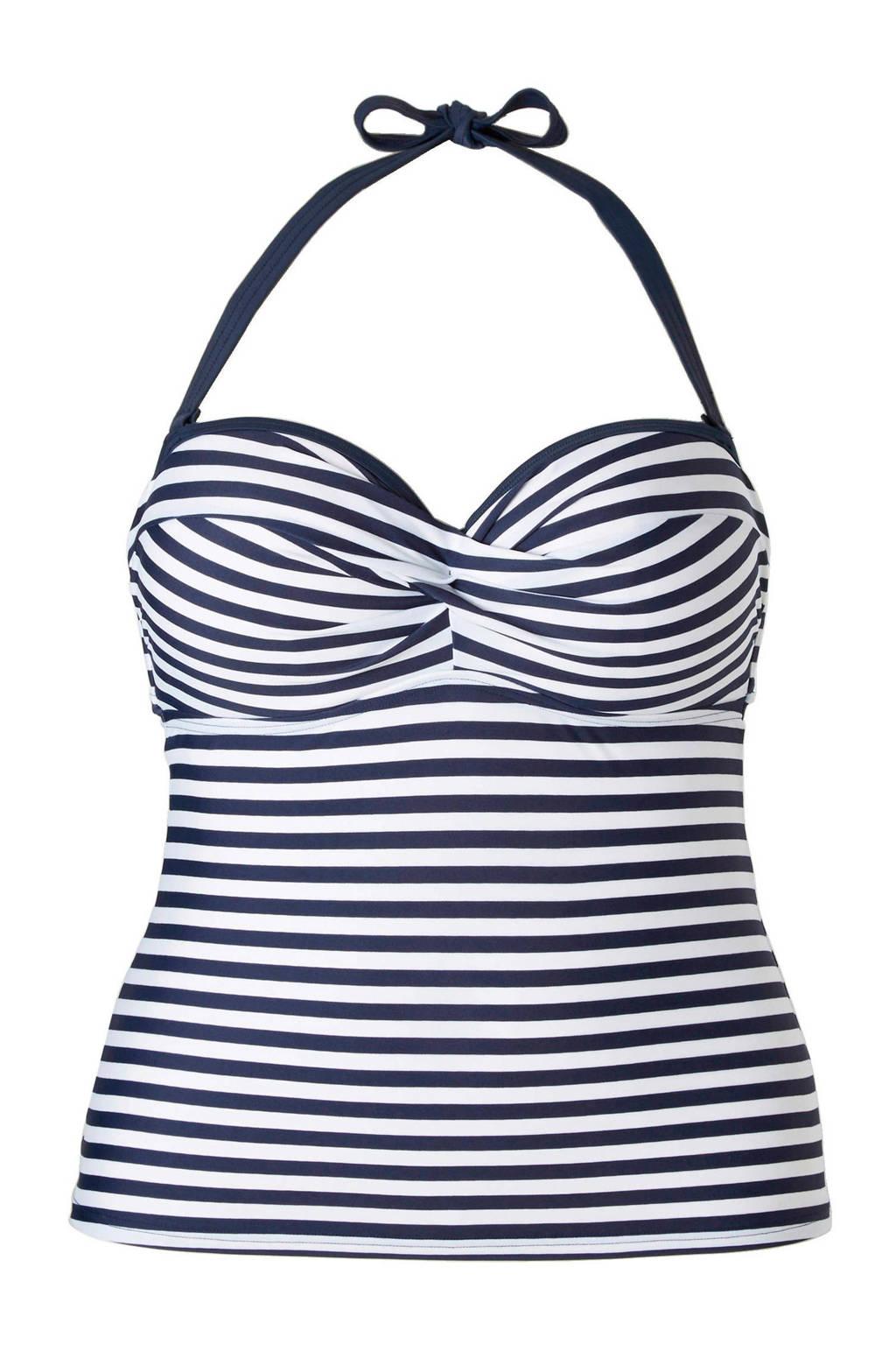 ESPRIT Women Beach Mix & Match gestreept tankini bikinitop voorgevormd blauw, Blauw/wit