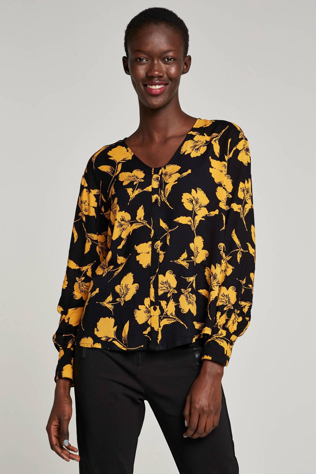 ICHI top met bloemenprint, Zwart/oranje