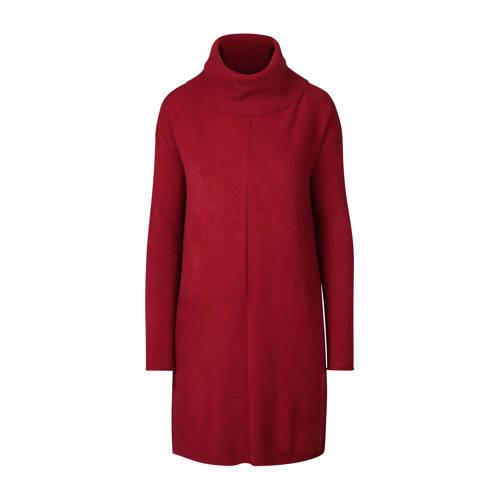 gebreide jurk met col rood