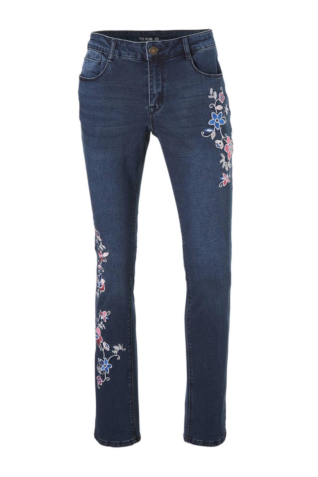 C&A The Denim slim fit jeans met borduursels, Dark denim