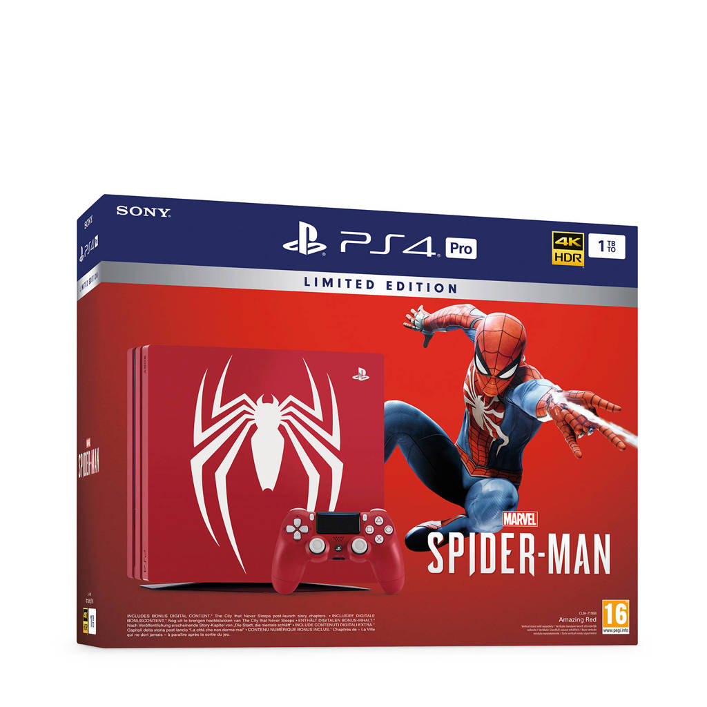 Sony PlayStation 4 Pro 1 TB Marvel Spider-Man limited edition, Rood