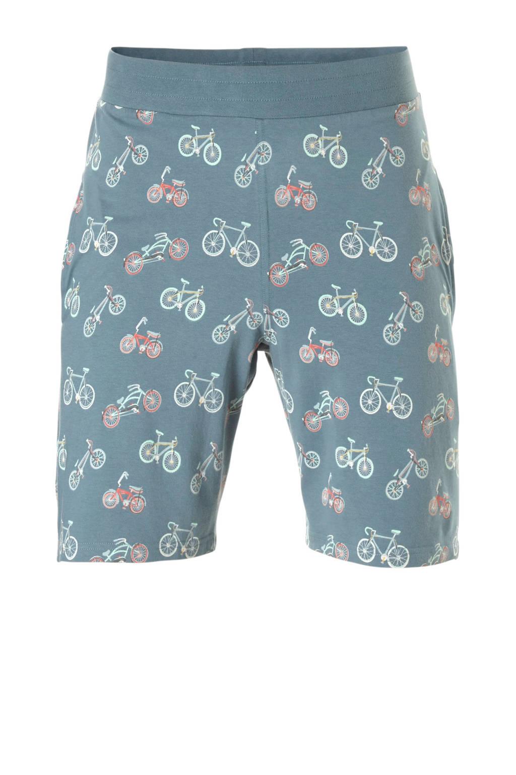 Charlie Choe pyjamashort met all over print grijsblauw, Grijsblauw/oranje/wit