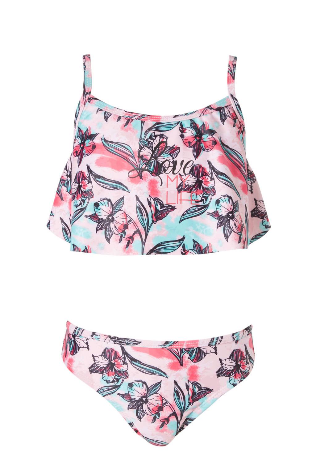 DJ Dutchjeans bikini in all over print zwart, Roze/zwart/mintgroen