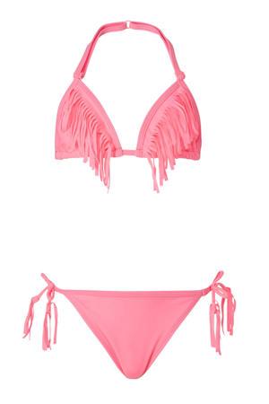 halter bikini met fringes roze