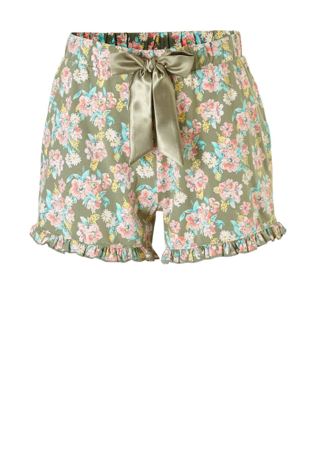 Charlie Choe pyjamashort met all over print groen, Groen/roze