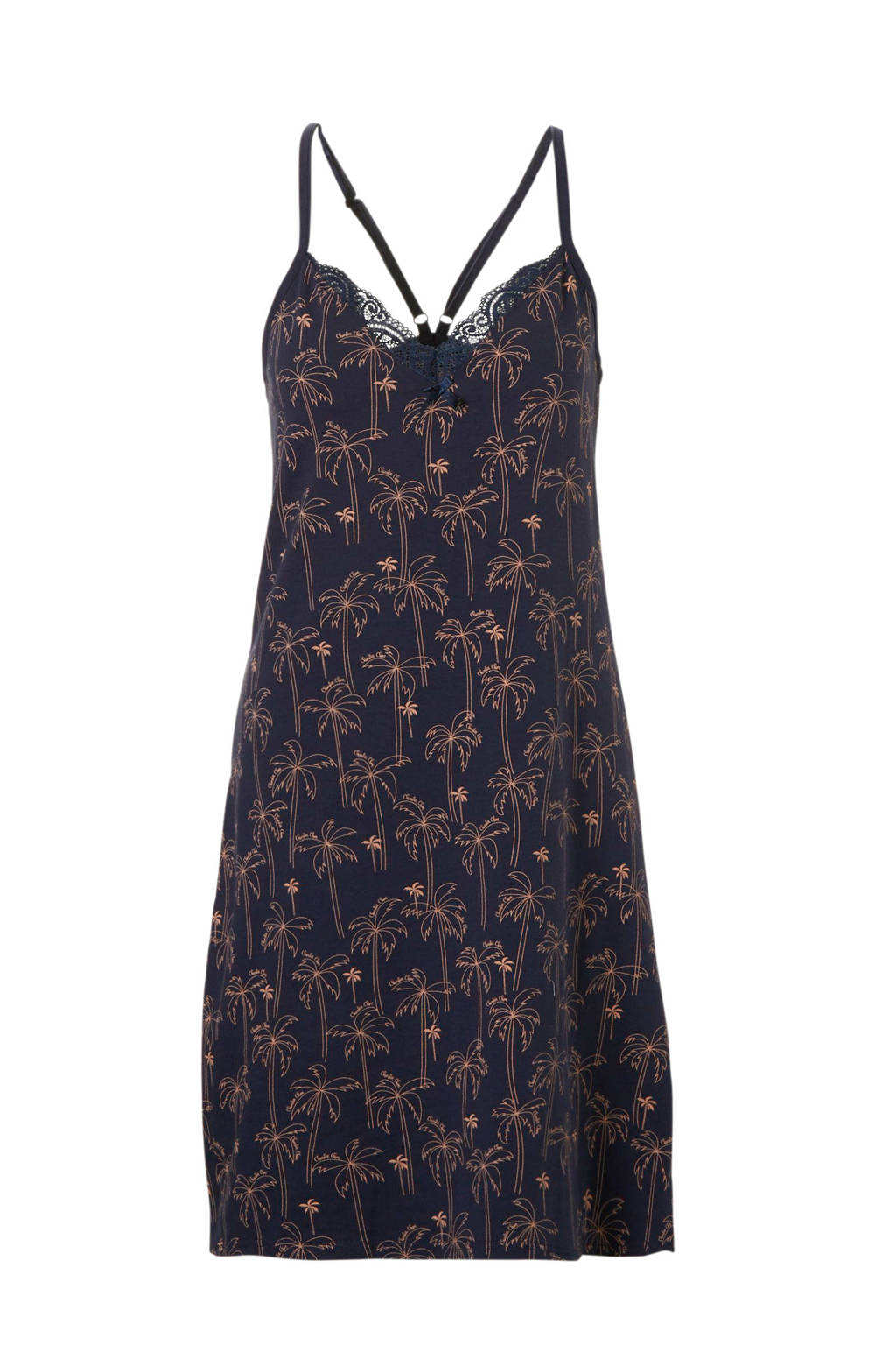 Charlie Choe slipdress in all over print blauw, Donkerblauw/roze