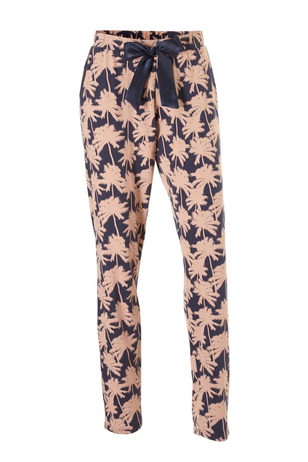 Charlie Choe pyjamabroek met all over print donkerblauw/roze, Donkerblauw/licht zalm