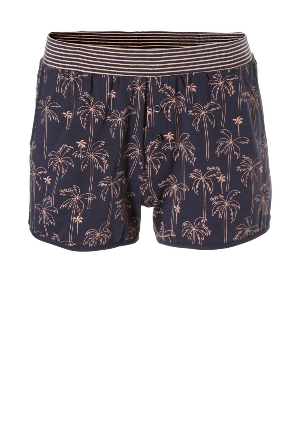 Charlie Choe pyjamashort met all-over print marine/roze, Marine/roze
