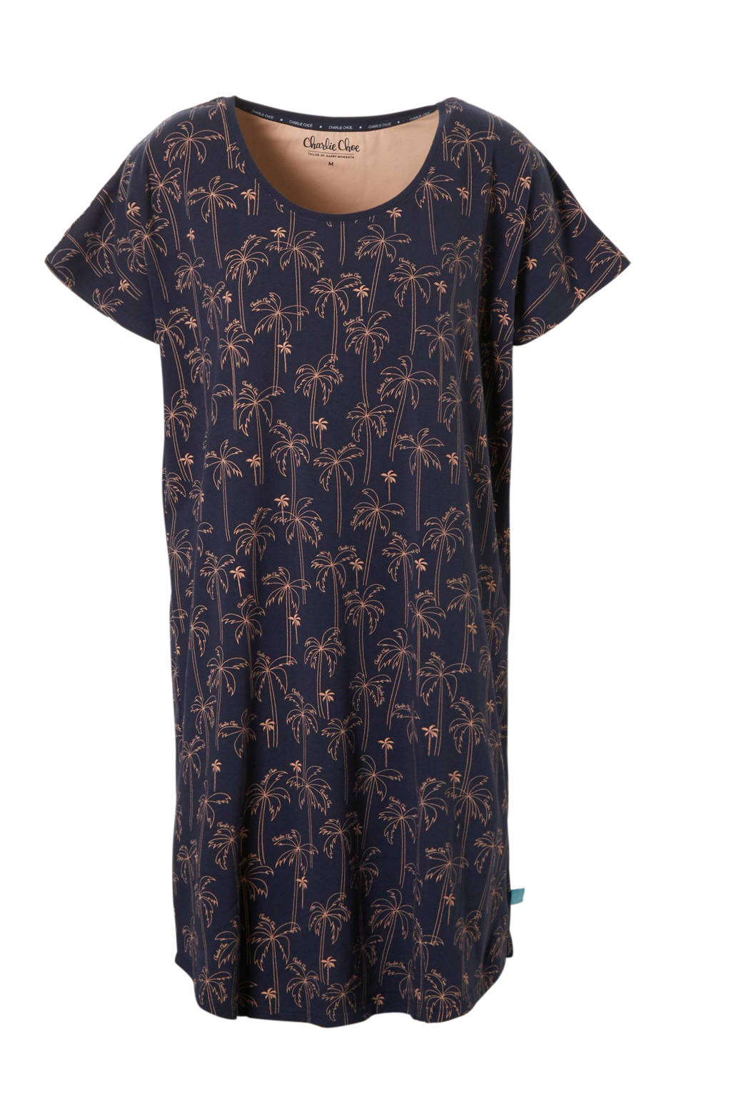 Charlie Choe nachthemd met all over print donkerblauw, Donkerblauw/roze