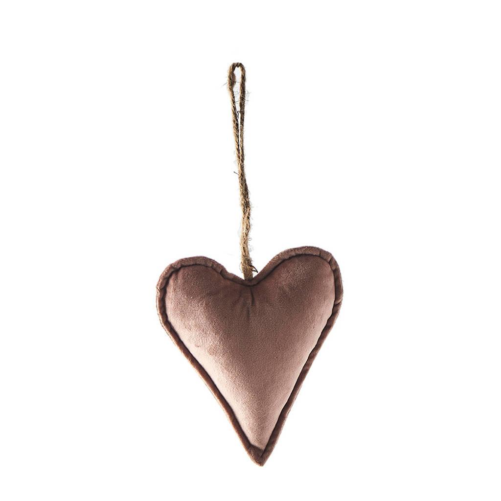 Riviera Maison kersthanger Velvet Heart Ornament pink M, Roze