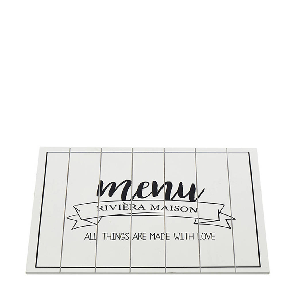 Riviera Maison Made With Love placemat (30x40 cm), Wit/zwart