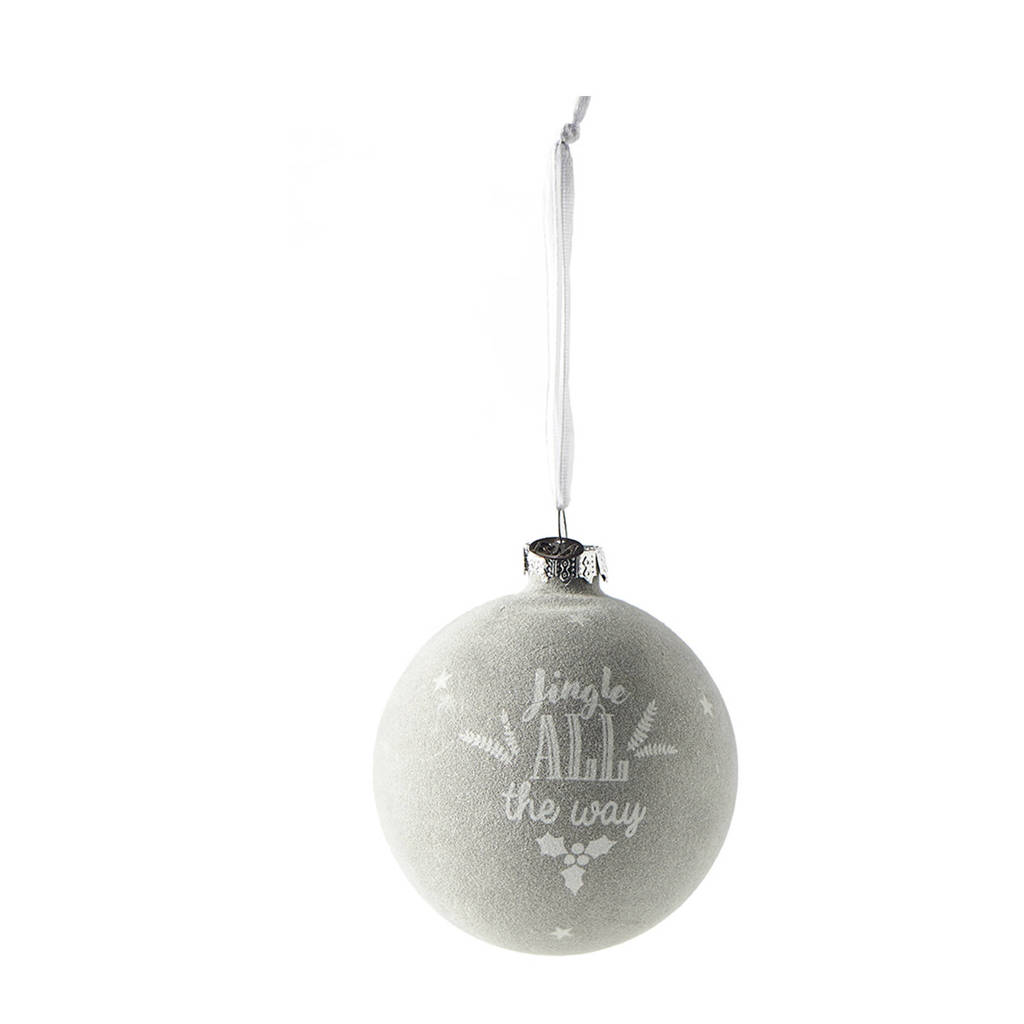 Riviera Maison kerstbal Jingle all the Way (Ø8cm), Grijs