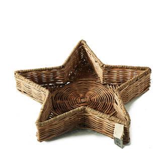decoratieschaal Rustic Rattan Winter Star Tray M