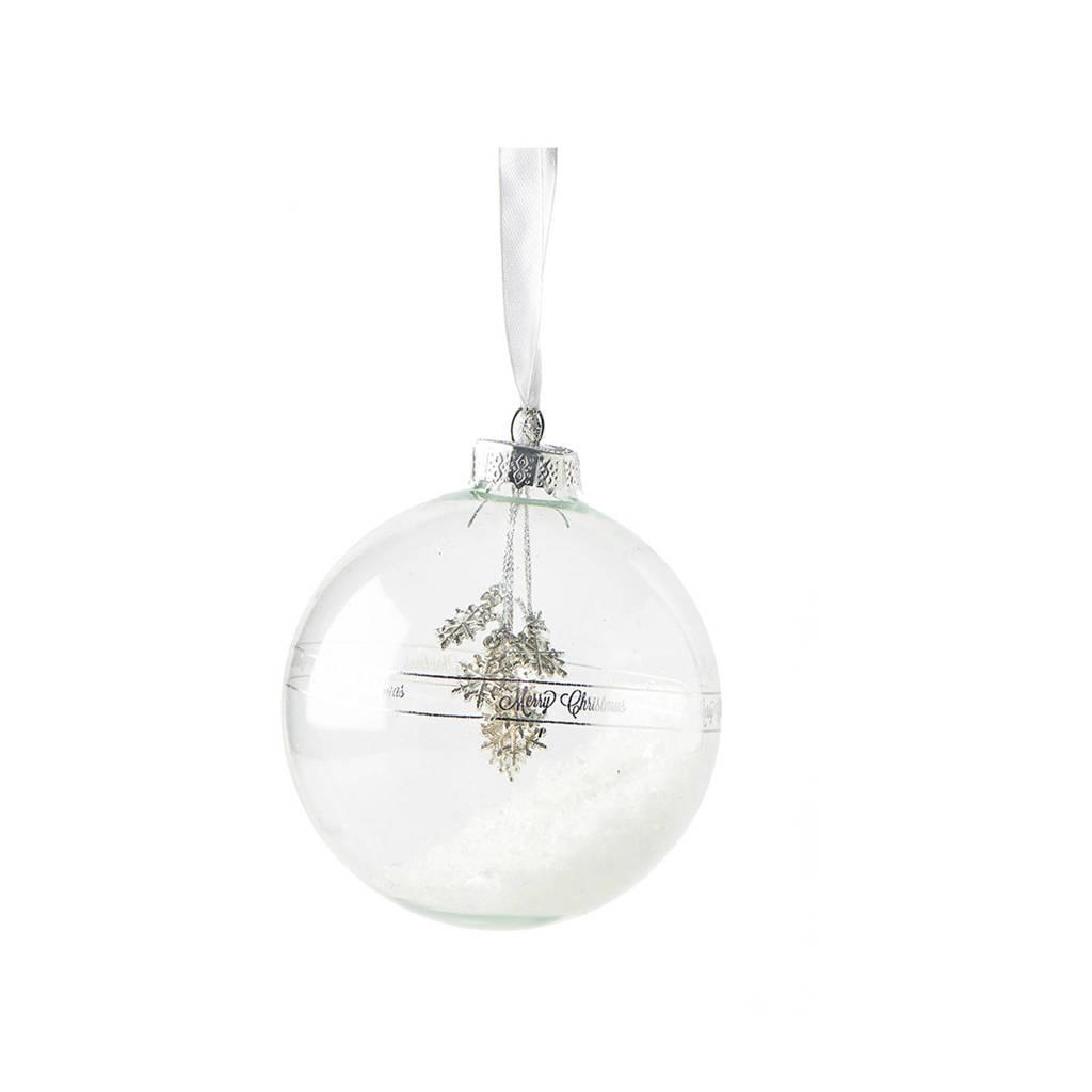 Riviera Maison glazen kerstbal Happy Snowstar (Ø10 cm), Wit