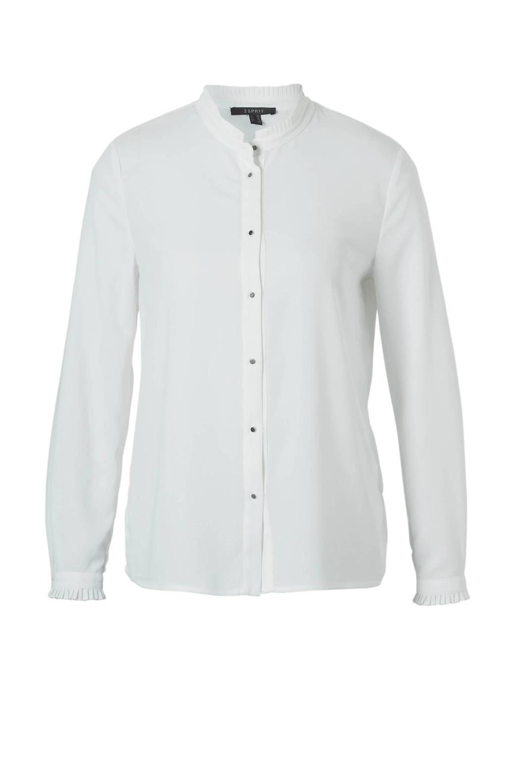 ESPRIT Women Collection blouse met ruches, Wit