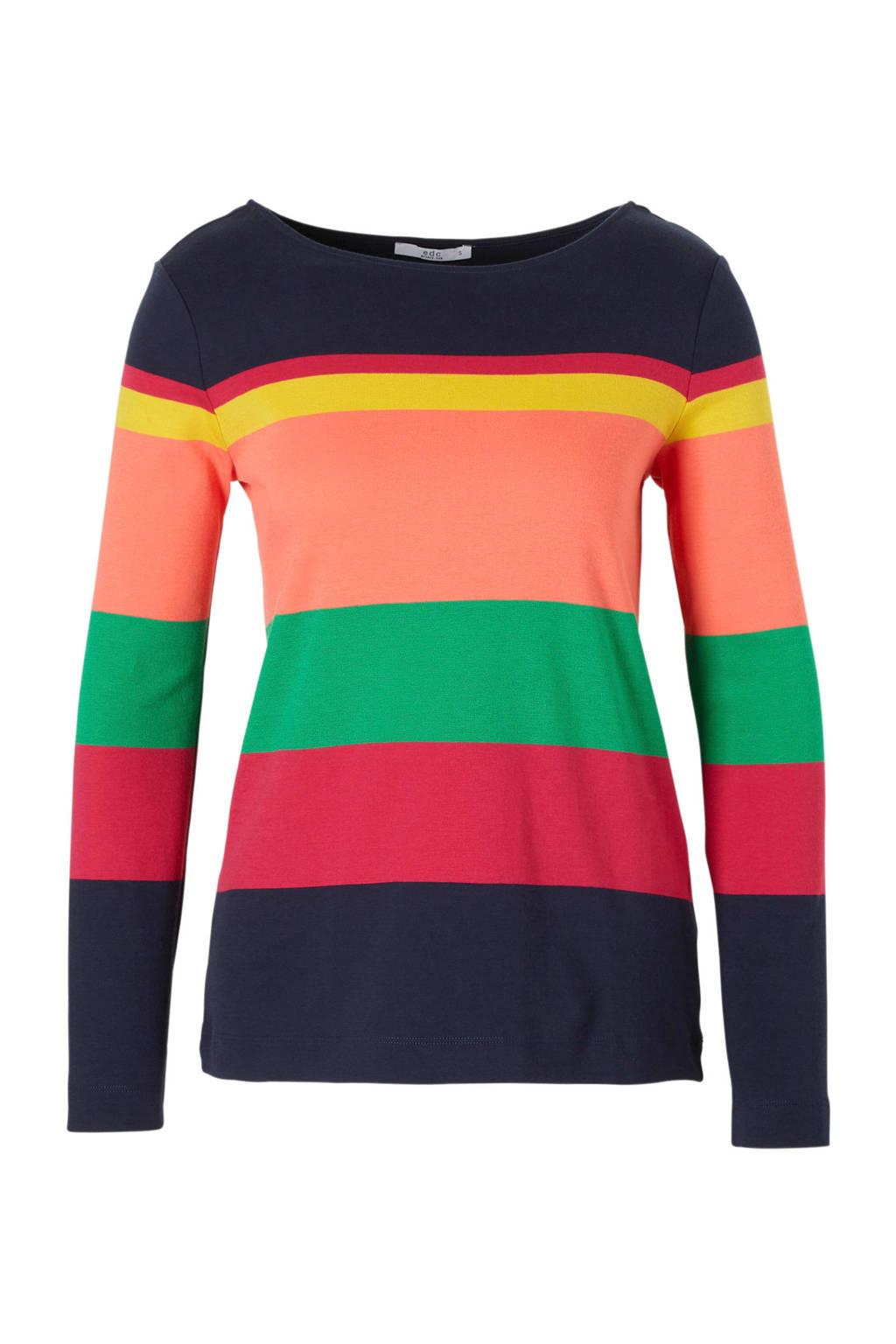 edc Women gestreepte top, Donkerblauw/groen/roze/oranje