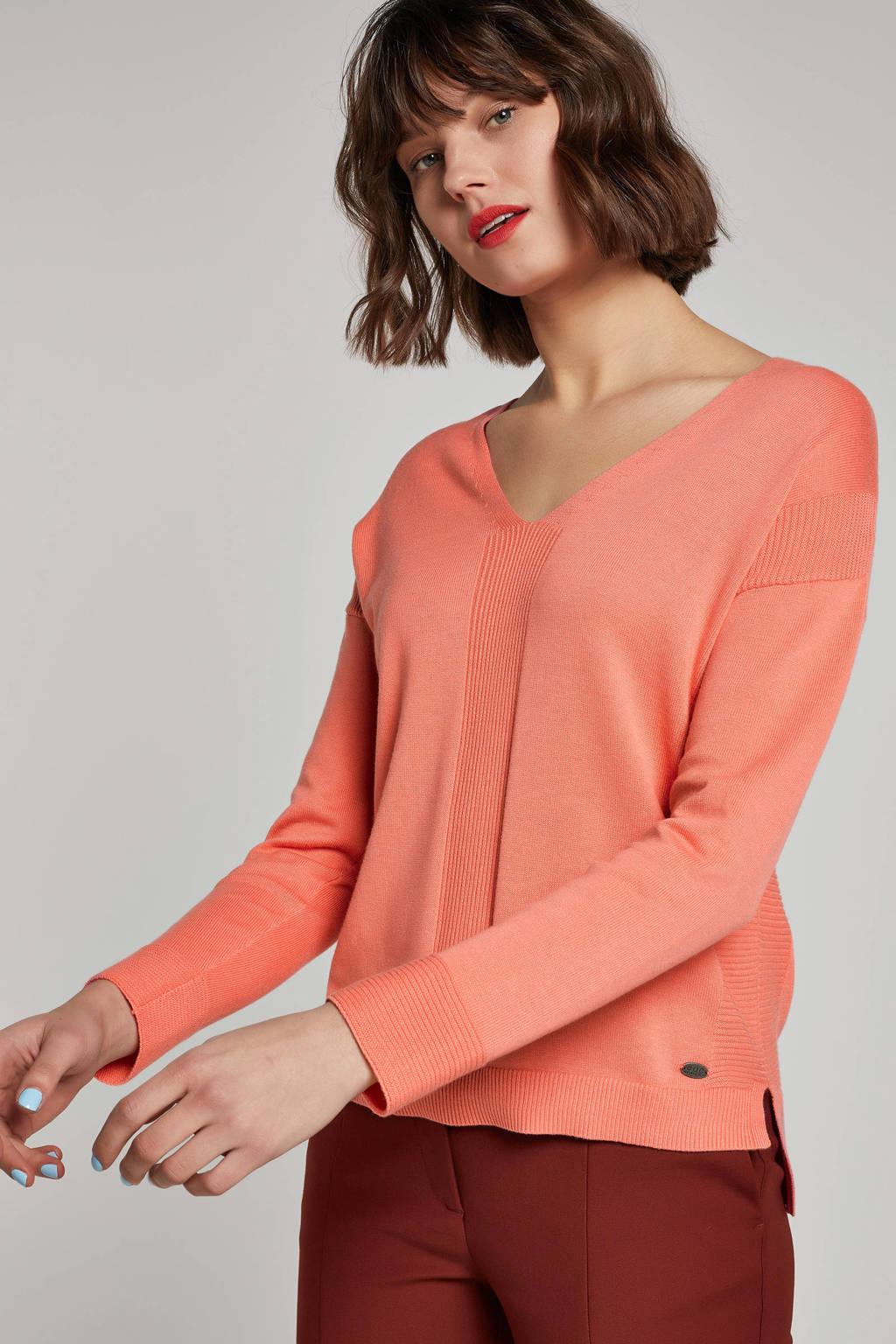 edc Women trui met strikdetail, Koraalrood