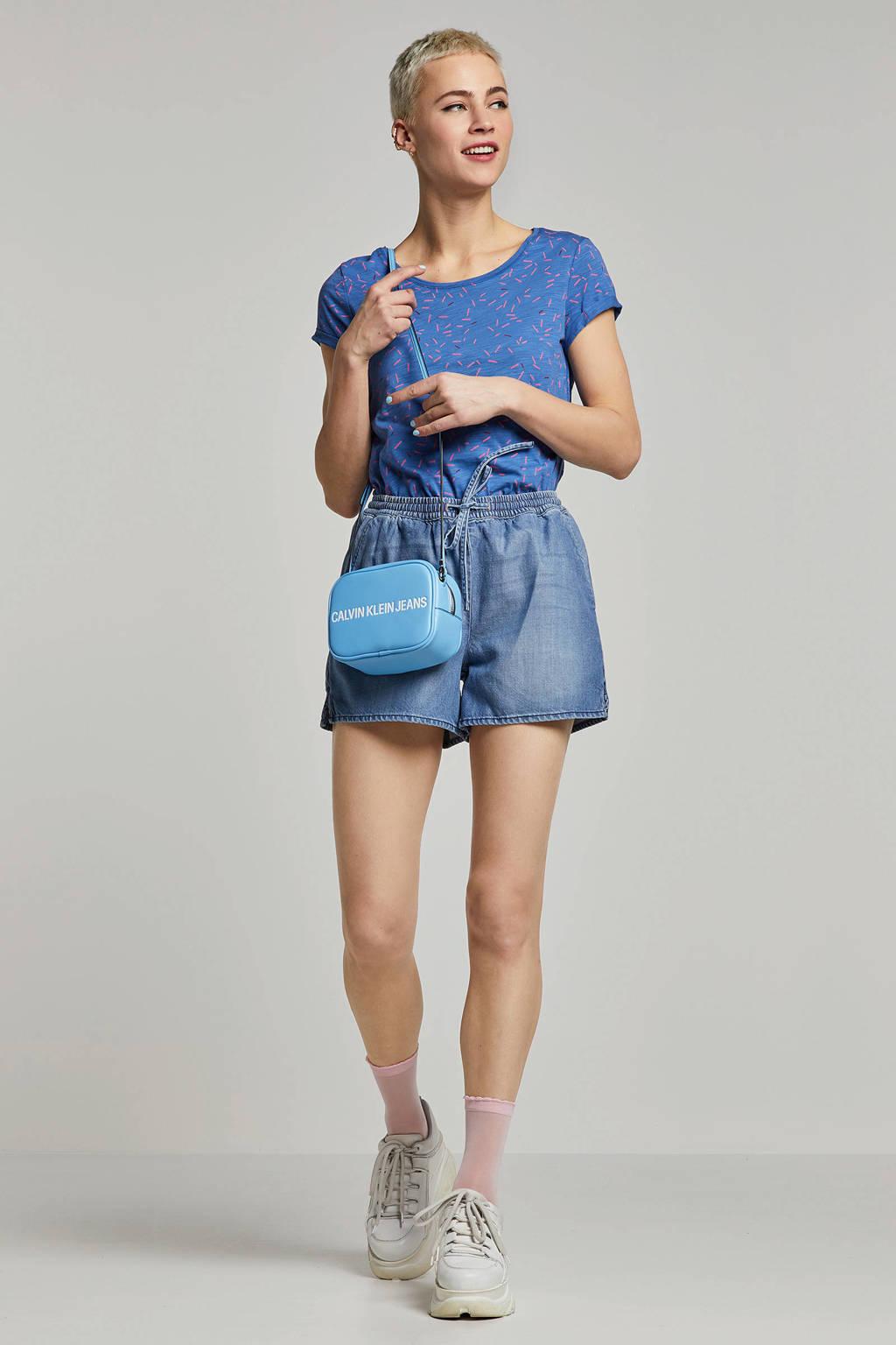 edc Women t-shirt met all over print, Blauw/roze