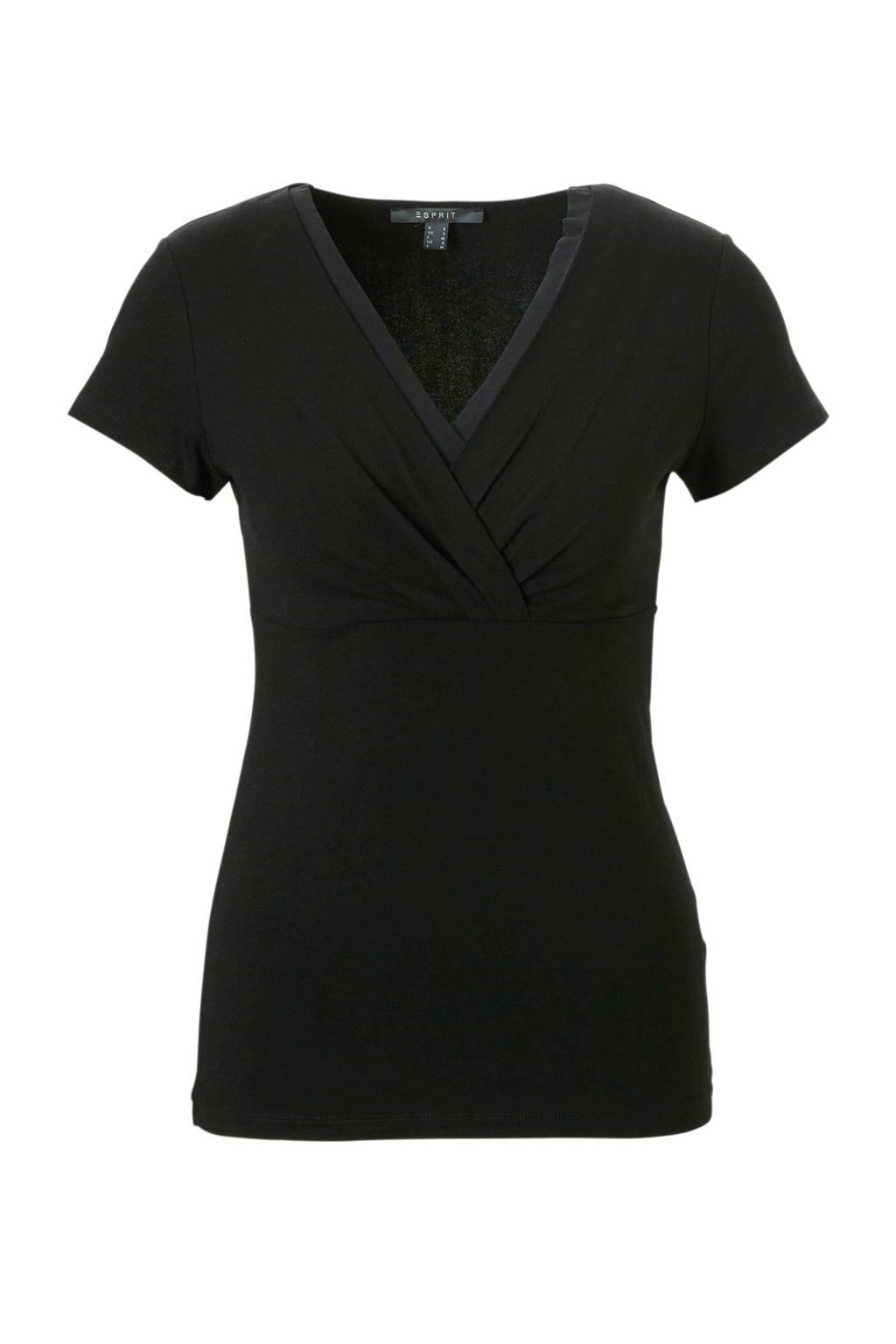 ESPRIT Women Collection t-shirt met overslag kraag, Zwart