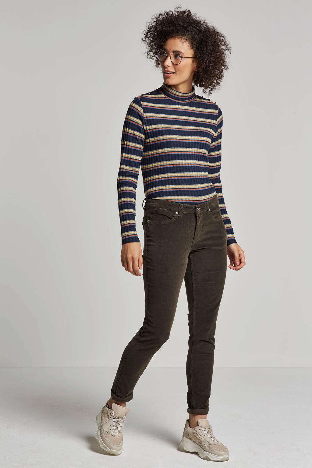 ESPRIT Women Casual gestreepte trui, Donkerblauw/geel/oranje/grijs/groen