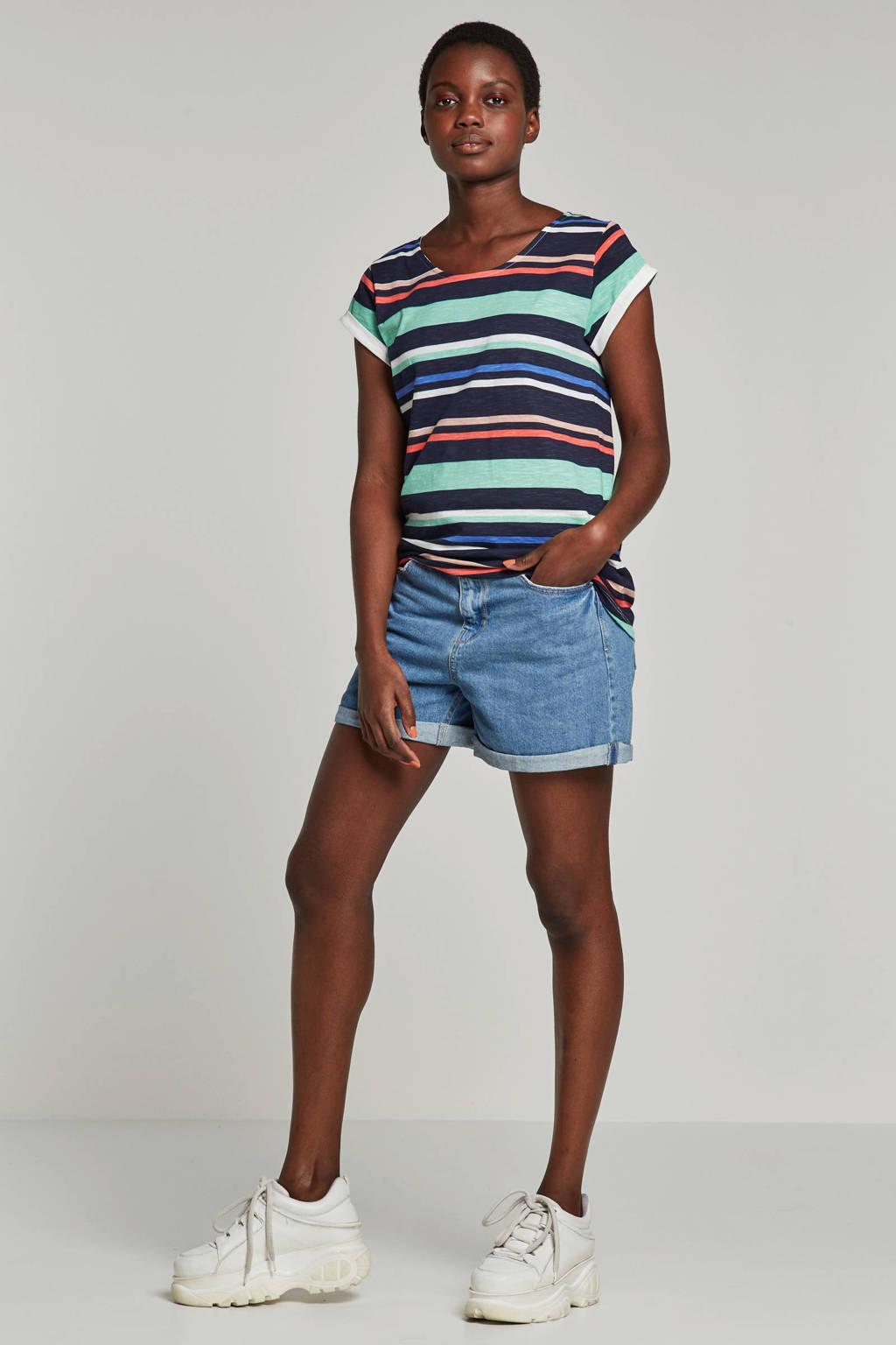 ESPRIT Women Casual gestreept T-shirt, Zwart/groen/blauw/wit