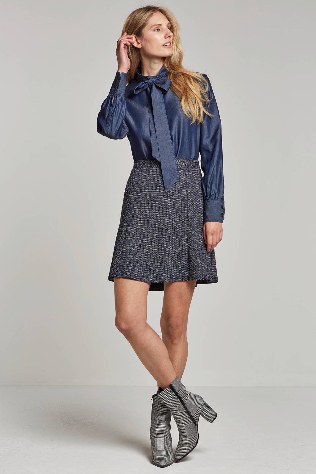 ESPRIT Women Casual gemêleerde rok, Blauw/wit