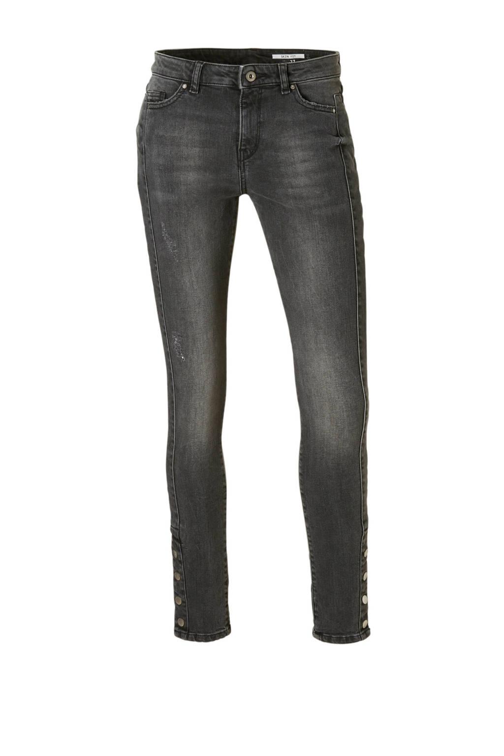 edc Women skinny jeans met knoop details, Grijs