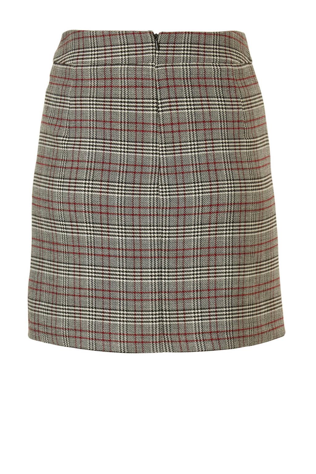 edc Women rok met ruiten, rood/ bruin