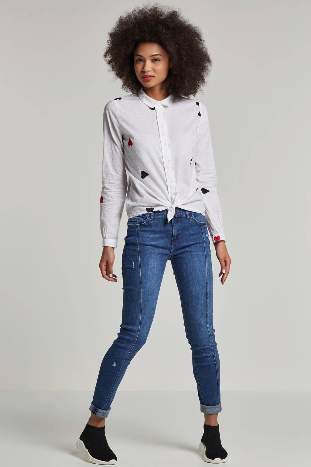 edc Women skinny jeans met borduursel en slijtage details, Blauw