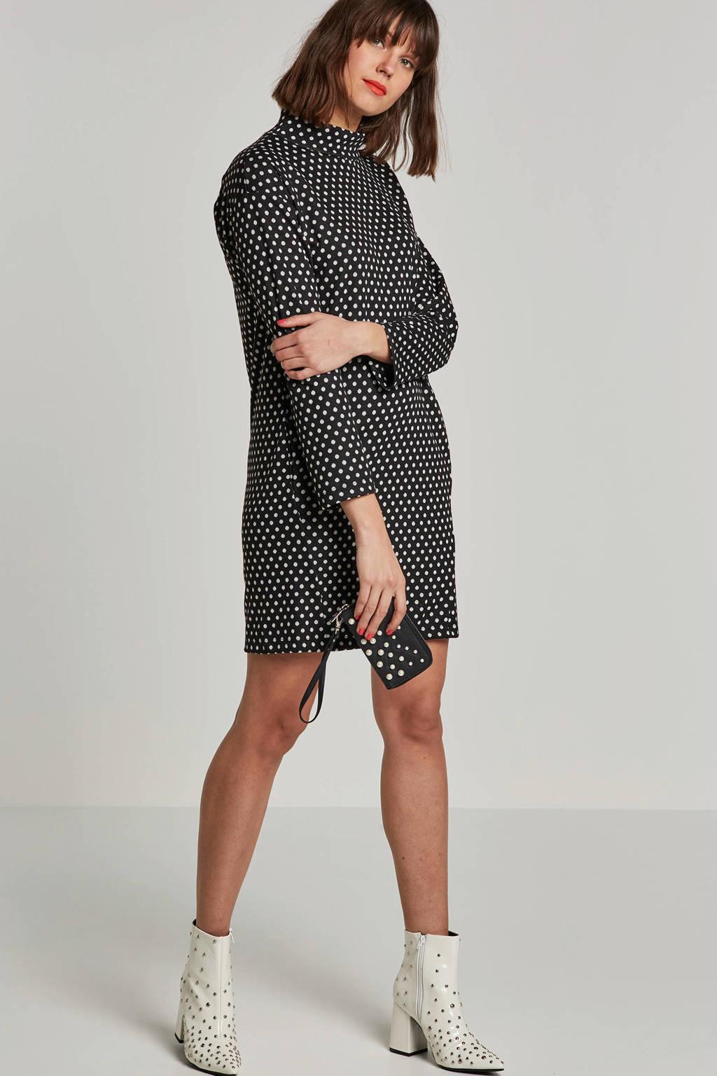 edc Women gebreide jurk met stipdessin, Zwart/wit