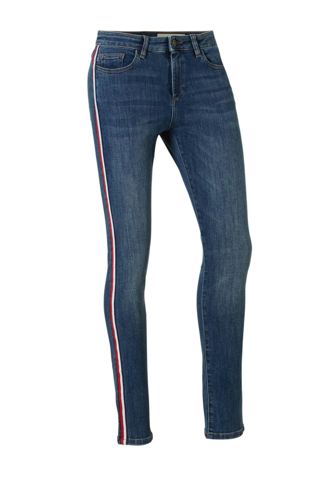ESPRIT Women Casual skinny jeans met zij strepen, Blauw/rood/wit