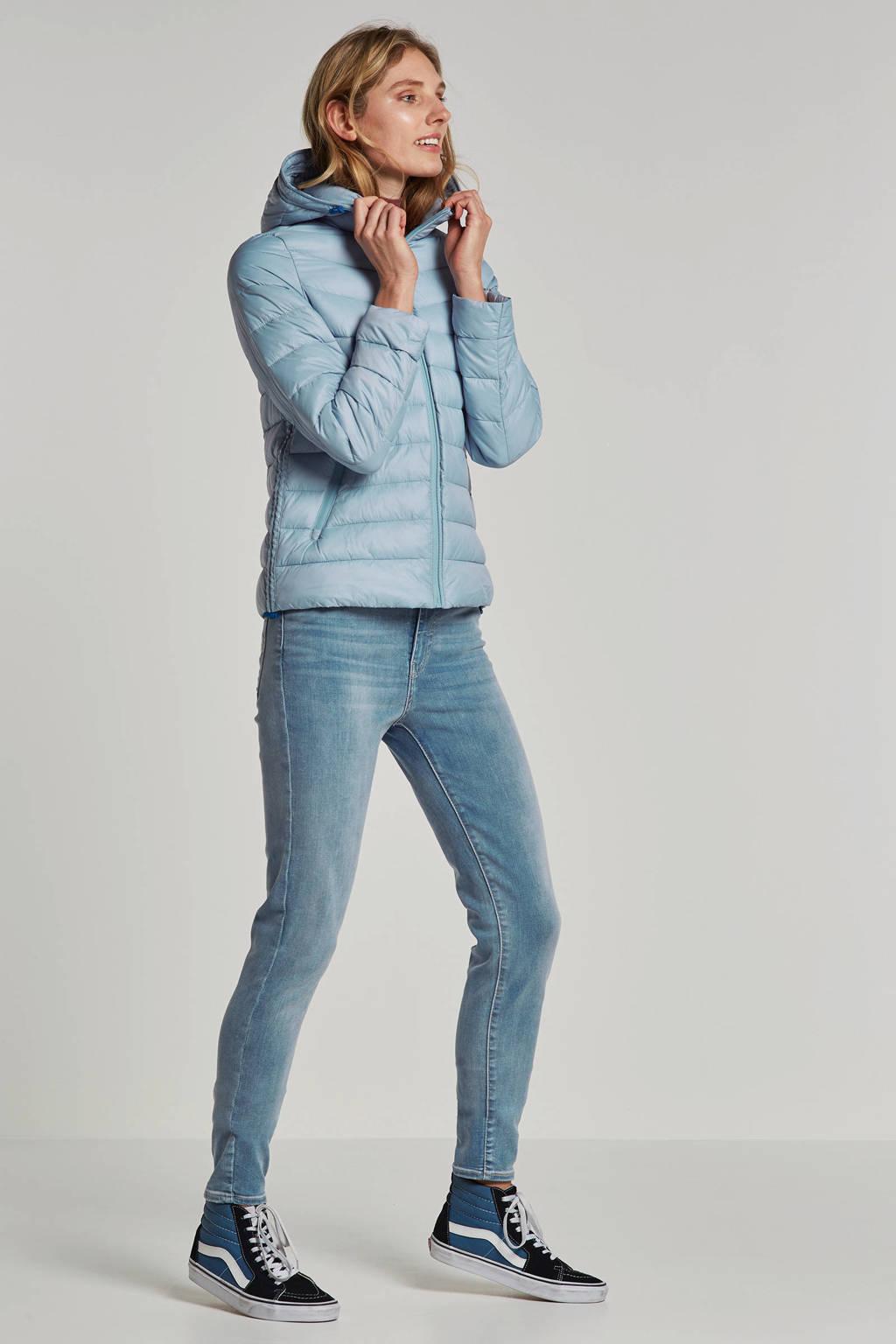 edc Women gewatteerde jas met capuchon, Lichtblauw