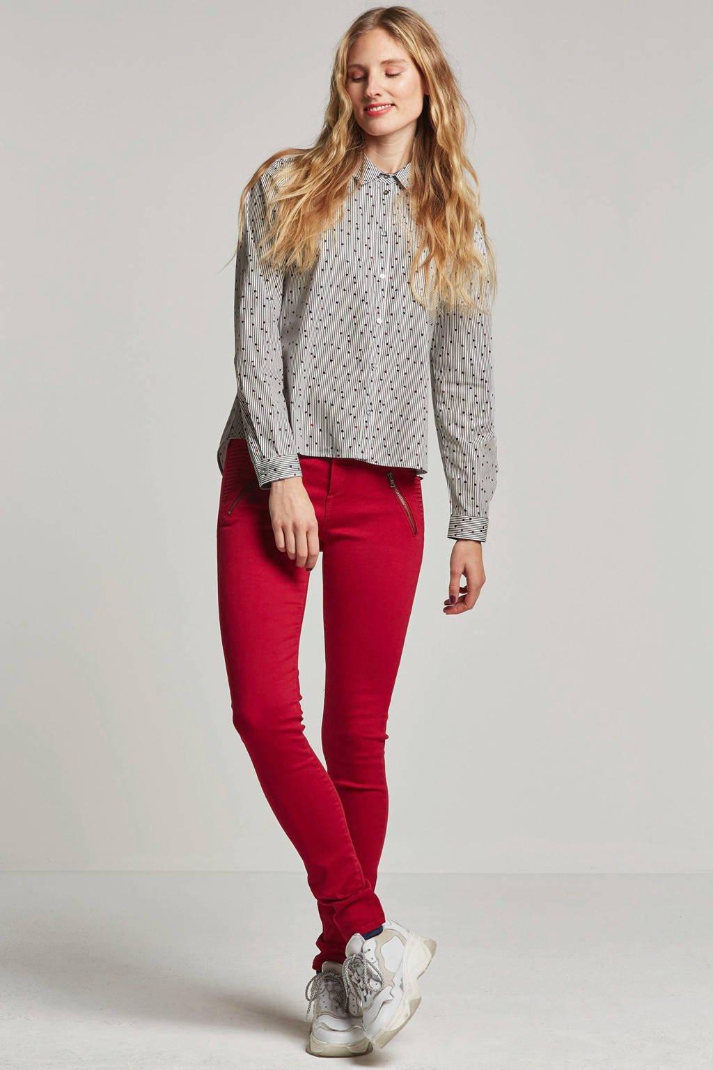 ESPRIT Women Casual gestreepte blouse met bloemenprint, Wit/blauw/rood