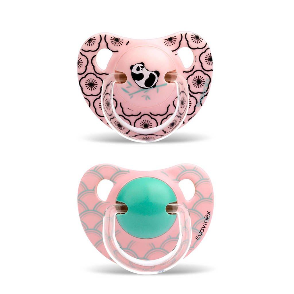 Suavinex fopspeen Panda +18 mnd roze, Roze met panda print