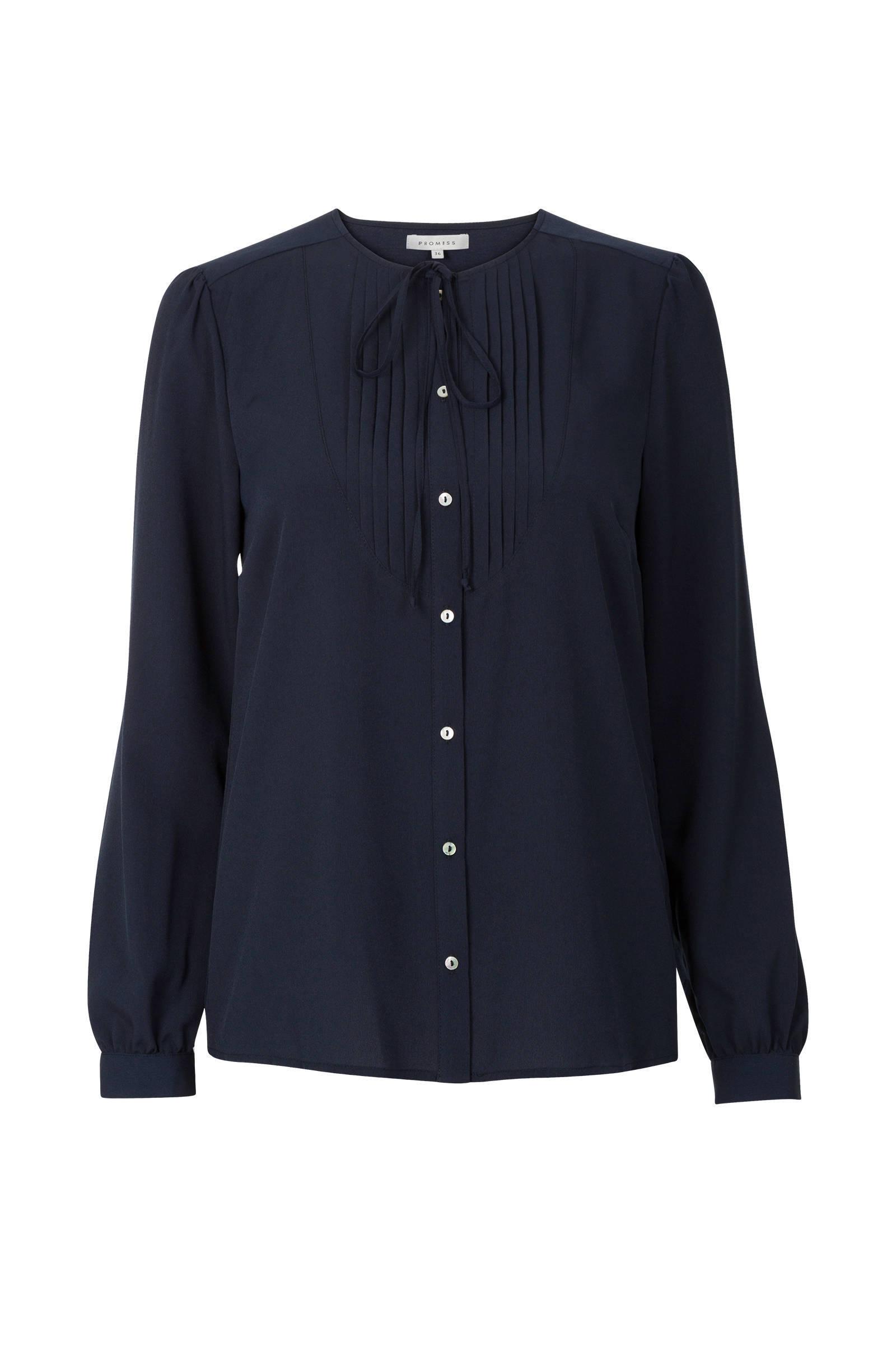 blauwe blouse met strik