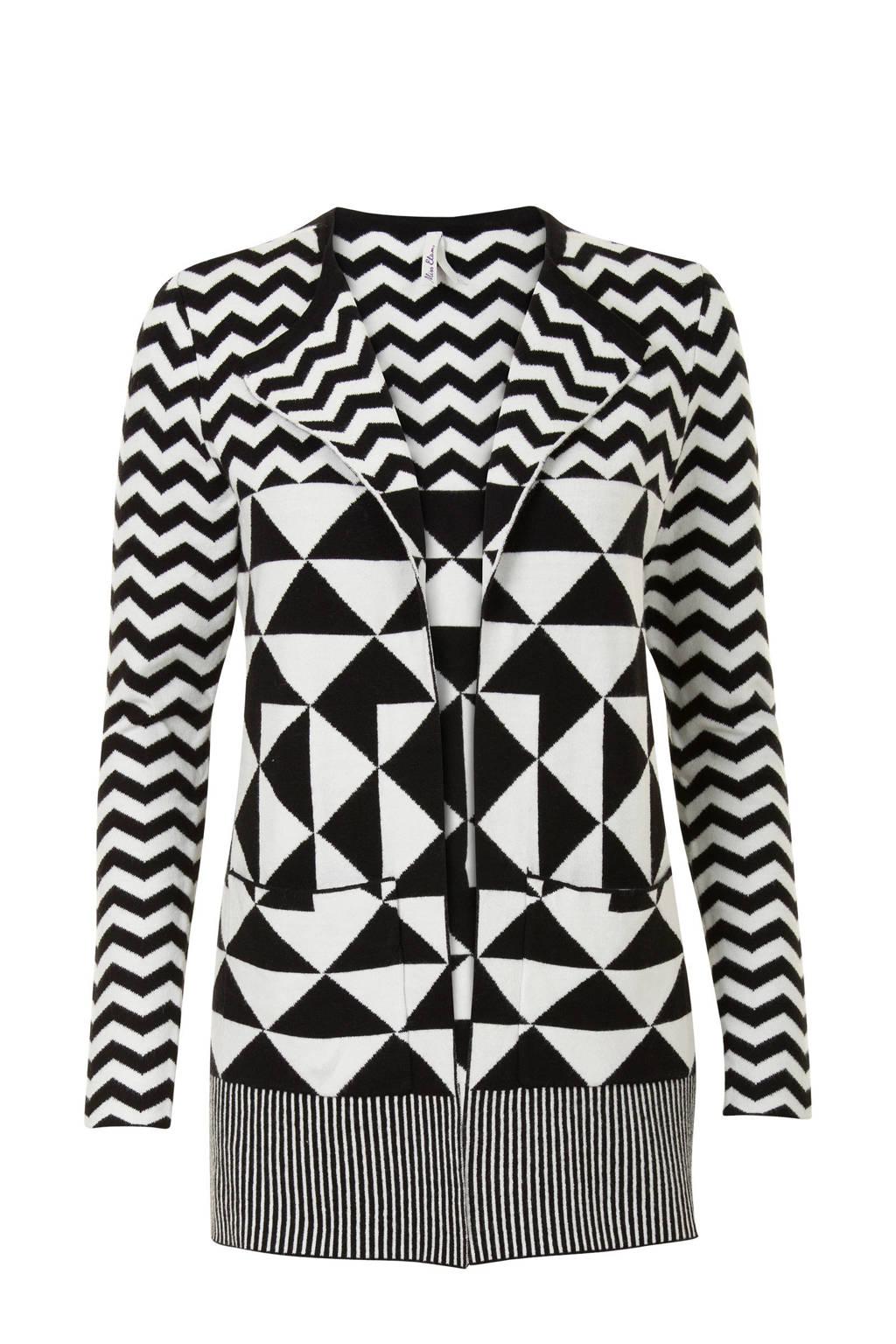 Miss Etam Regulier vest met all over print zwart, Zwart
