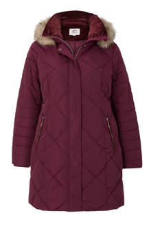Plus quilted parka donkerrood