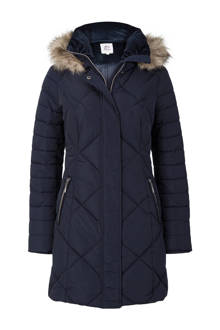 Regulier quilted jas donkerblauw