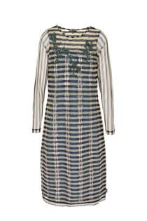 Didi jurk met sierkraaltjes grijsblauw