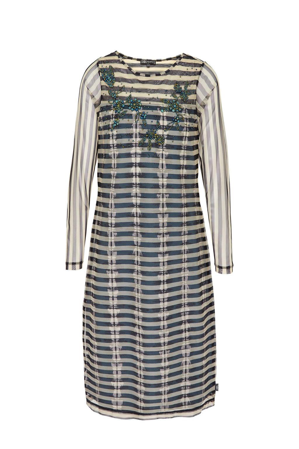 Didi jurk met sierkraaltjes grijsblauw, Grijsblauw