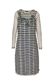 jurk met sierkraaltjes grijsblauw