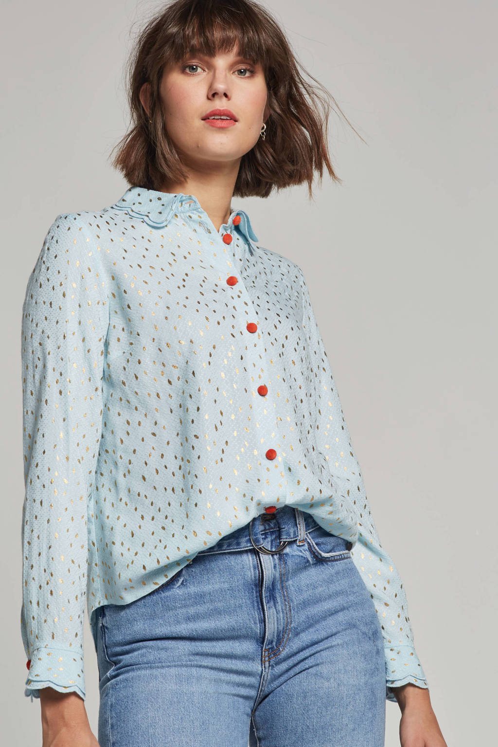 NUMPH blouse Iridiana met all over print, Lichtblauw