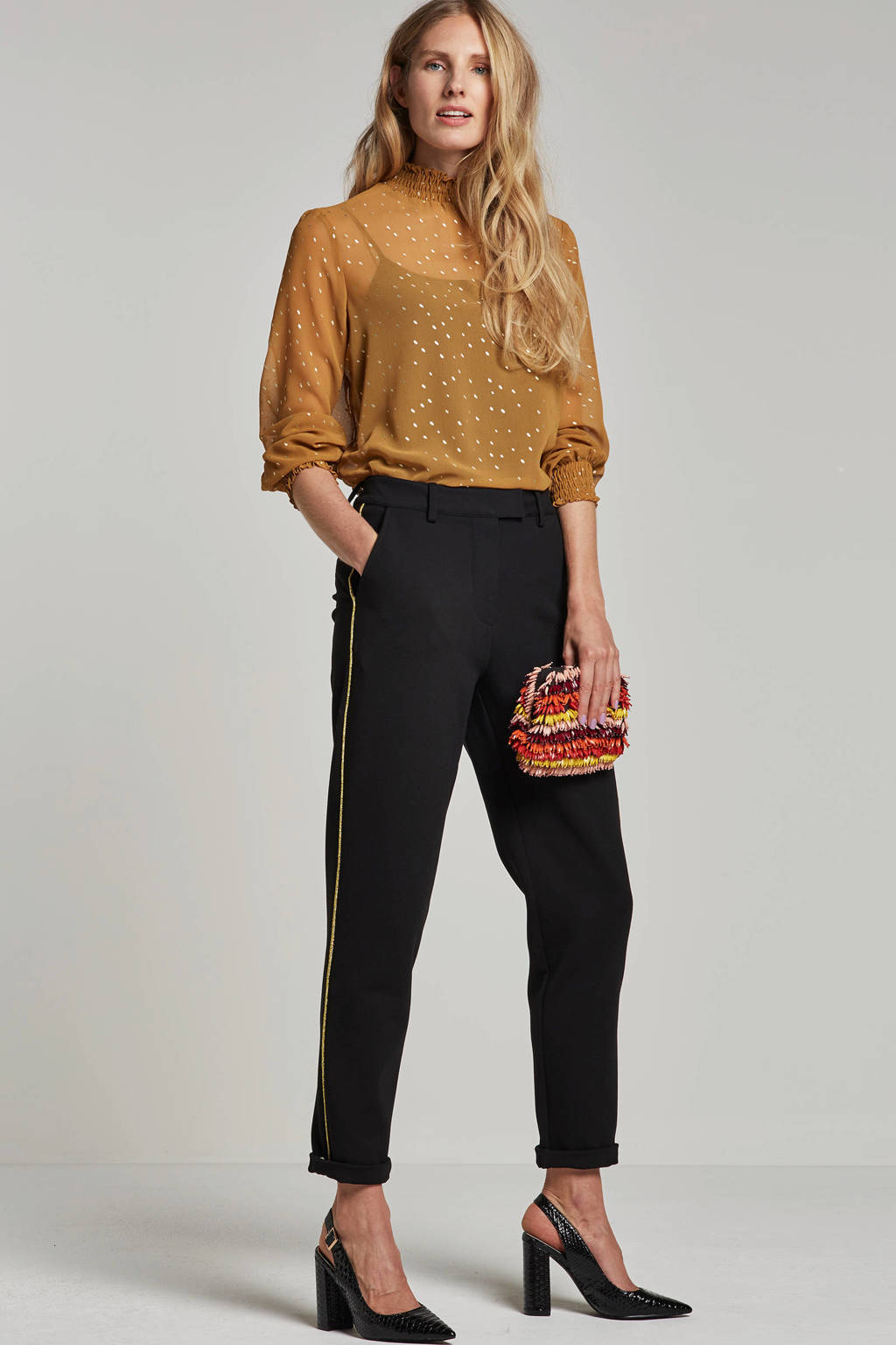 NUMPH regular fit broek met glitters, Zwart/goud
